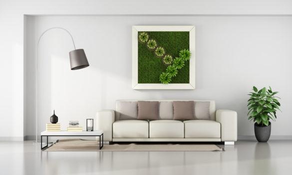 Stue i minimalistisk stil med en plantevegg