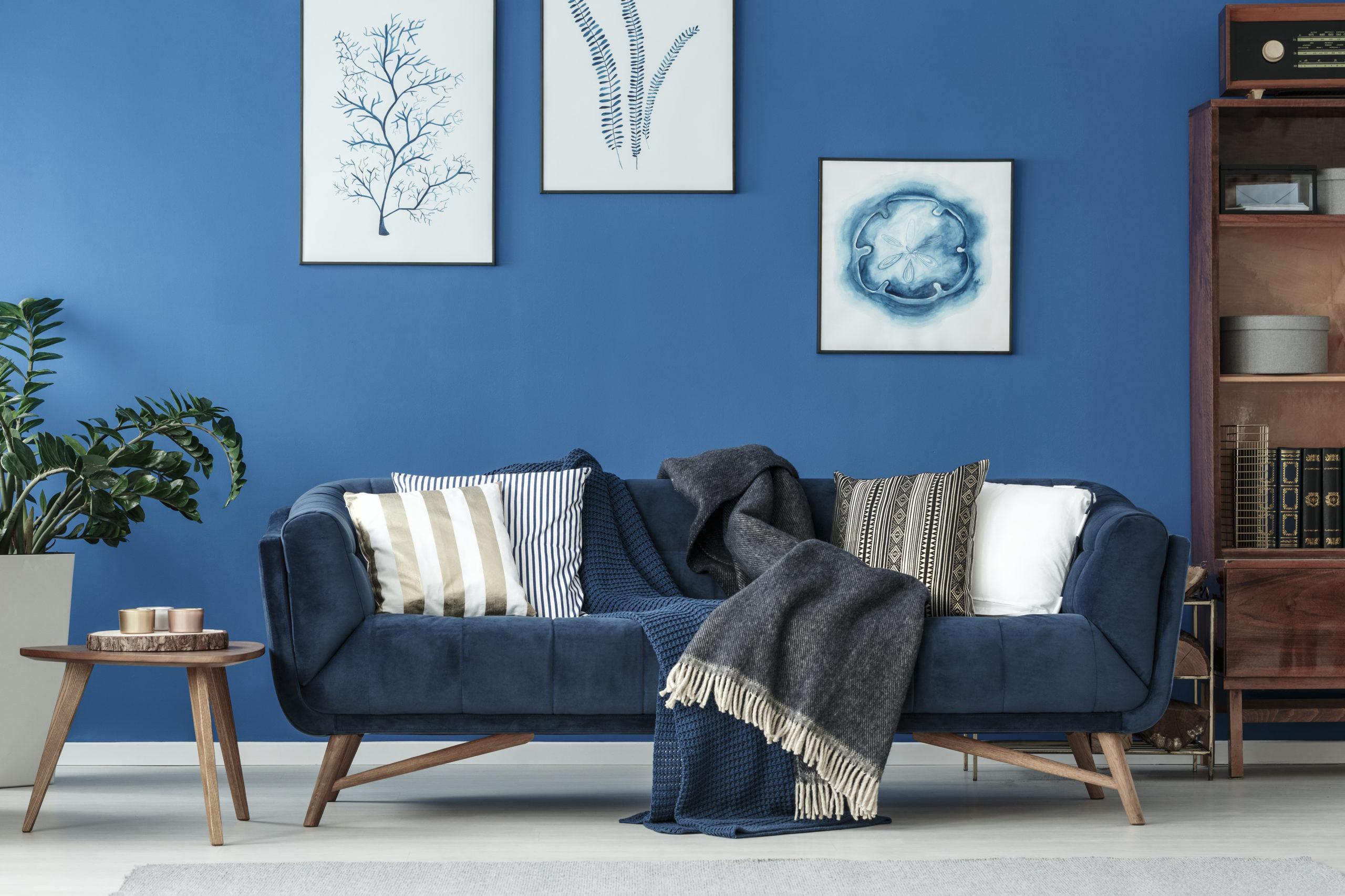 Blå sofa i en blå stue