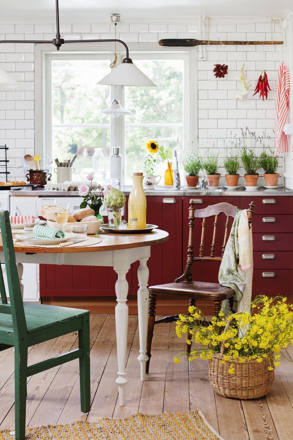 Burgunder-rød maling på kjøkkenet