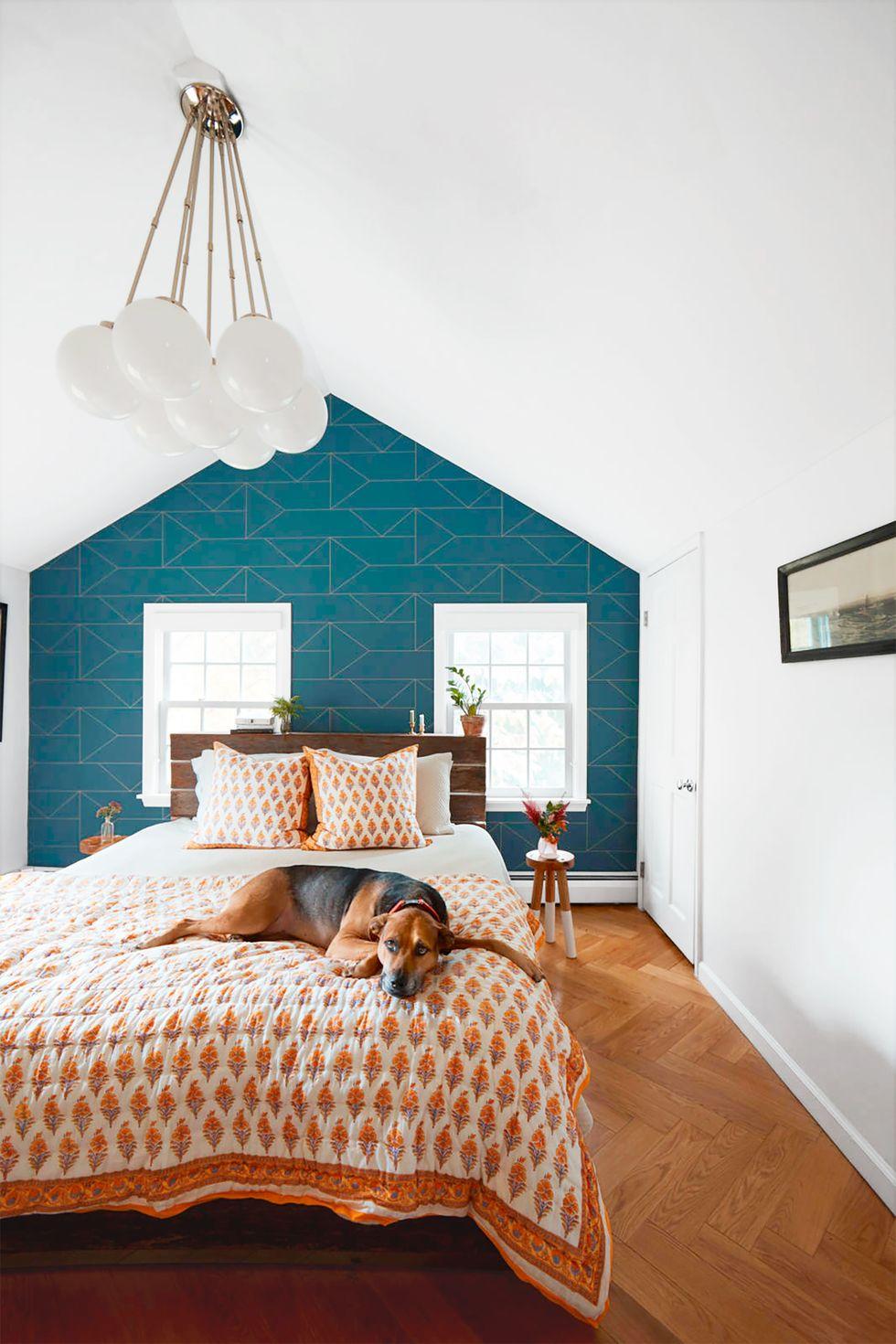 Blå mønstret kontrastvegg på soverommet